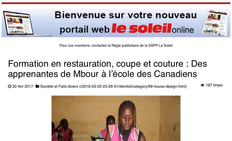 Un article paru dans Le Soleil de Dakar parle du gîte-école de MBOUR.